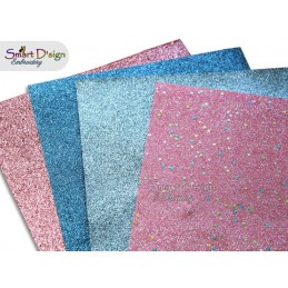PACK 4 Sheets - PINK 'n Blue - Glitter Vinyl