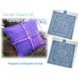 ELEFANTEN-LIEBE Trapunto Set ITH QUILT 13x13 cm