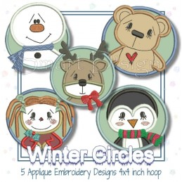 5 Winter Kreis-Applikationen - 10x10 cm