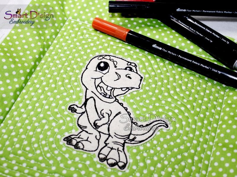 Dinosaur Rex Doodle Applique